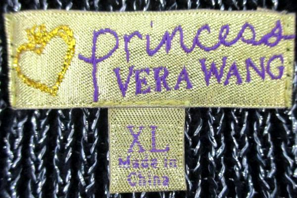 Vera Wang Princess Women's XL Black Silver Crop Top Half Sleeves