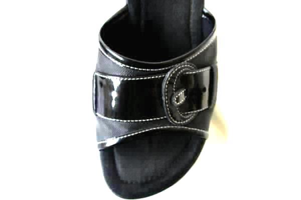 Bongo Black Buckle Wedge Sandals-Heels Size 6