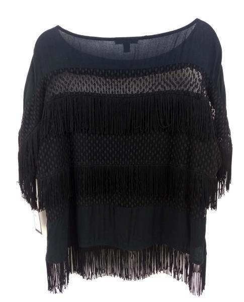 "ELLA MOSS ""Disco Starlight Zena"" Fringe Blouse Black Short Sleeve Sz M NWT $168"