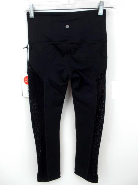 "VIMMIA ""Attitude"" Capri Cropped Leggings Black Lace Mesh Side Panels Sz XS NWT"