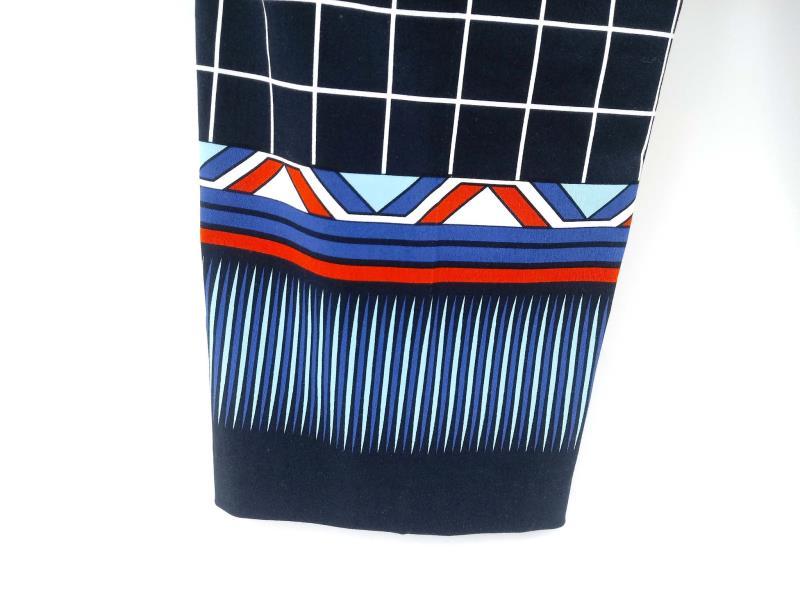 TRIBAL Trousers True Blue Check Dress Pants w/ Printed Cuffs Career Sz 12 NWT