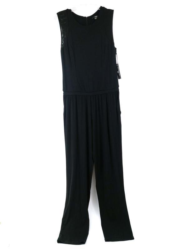 "TART ""Cosette"" Jumpsuit Cap Sleeve Black Jersey Mesh Straight Leg Women Sz M NWT"