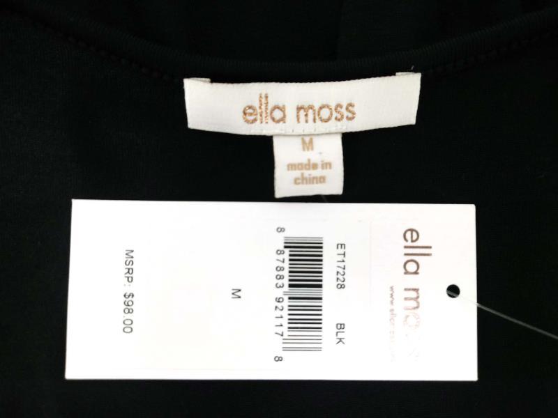 """ELLA MOSS """"Bella"""" Drape Tank Black Asymmetrical Side Slit Sz M NWT $98"""