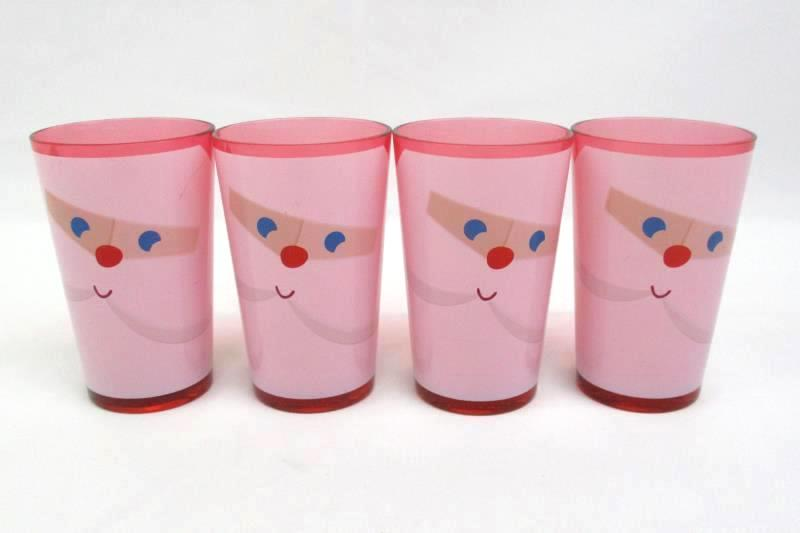 """Four 4.5"""" Red Plastic Santa Glasses From Target 09/13"""