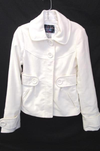 Button Up Coat BB Dakota Eggshell White 90% Polyester Women's Size S