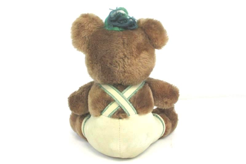 "Vintage 1979 Dakin 10"" Stuffed Plush Bear Green Hat Lederhosen Sitting"