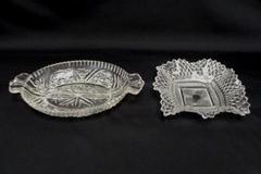 Lot of 2  Fostoria Relish & Diamond Point Ruffled Edge Glass Dishes