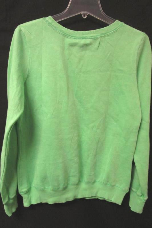Pullover Sweater BLUE 84 Green/Silver Lettering Cotton Blend Women's Size Small