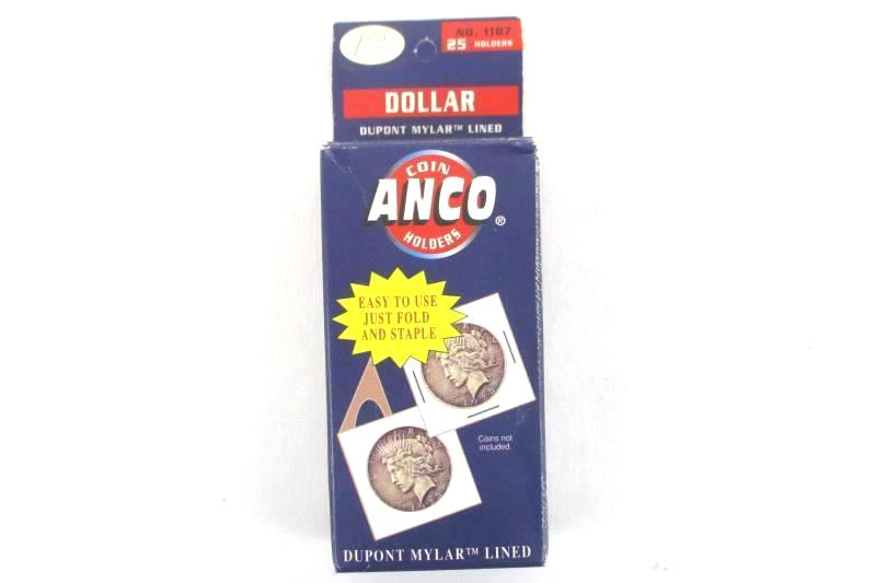 Pack of 17 Vintage ANCO Mylar Lined Dollar Coin Holders Opened / Partial