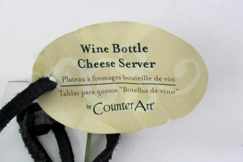 Counter Art Wine Bottle Glass Cheese Server Board And Knife Napa Valley VTG Wine