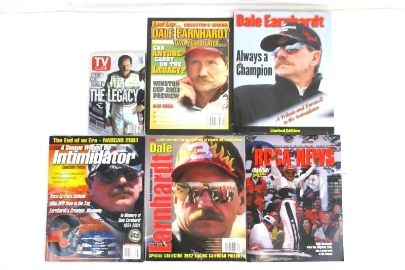 Lot of 6 Dale Earnhardt #3 Magazines Books NASCAR TV Guide RCCA News Last Lap