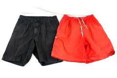 Lot of 2 Medium Men's Shorts Wrangler Gray Shorts + Coral Swim Trunks