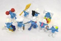 "Lot of 9 Peyo PVC Smurf Figurine Figure Toys McDonalds 3"" Tall Figure 2011"