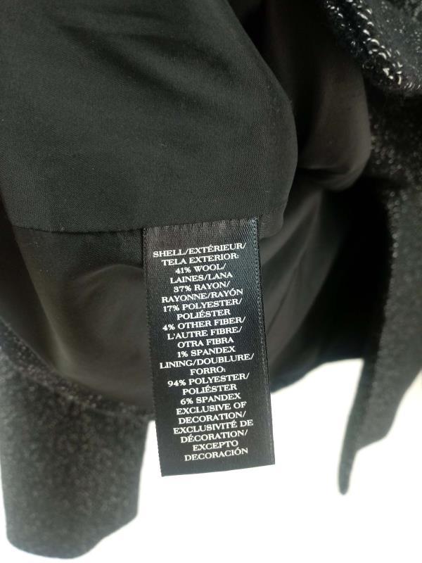 ANN TAYLOR Black Tweed One Button Career Blazer Wool Blend Shawl Lapel Sz 6