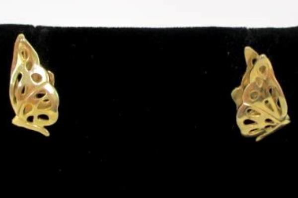 3 Pairs Gold Tone Pierced Earrings Presents Rhinestones Butterflies Candy Canes