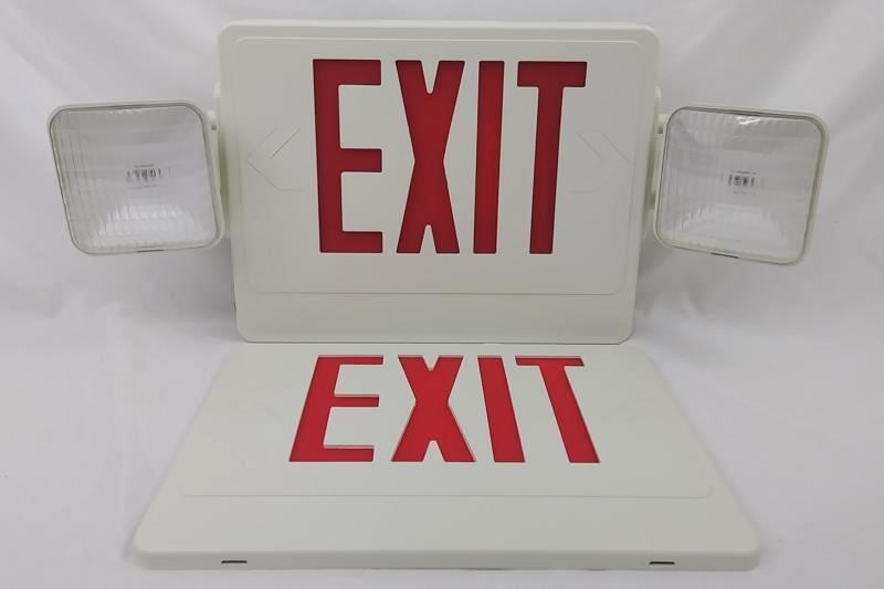 Lavex Industrial Red LED Emergency Exit Sign 120/277 Dual Voltage With Lamps