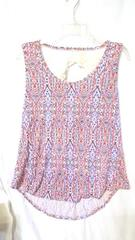 No Boundaries S Tank Shirt Women's Junior Scoop Neck Red White Blue Lace Back