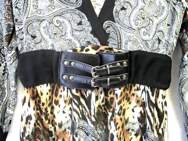 V-Neck Belted Dress By Bailey Girl Patterned Women's Size S
