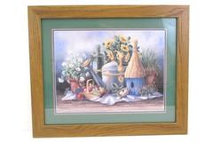 Painted Framed & Matted Barbara R Delisky Garden Flowers Watering Can Fruit