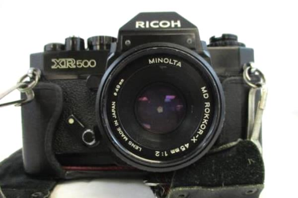 Vtg RICOH XR 500 Camera in Case Ctrap w/ Rikenon 45mm f/2 & Avigon Zoom 80-200
