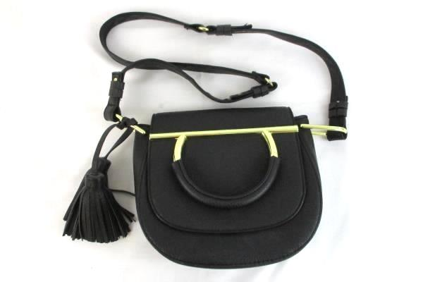 STEVE MADDEN Black with Gold Accent Faux Leather Cross Body Handbag with Tassles