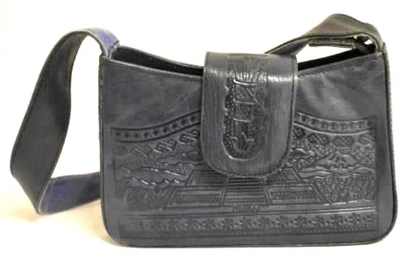 Hand Bag Mayan Blue Leather & Suede Magnetic Snap Strap W/ Zipper Made In Mexico