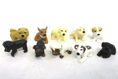 Lot of 10 Soft Plastic or Rubber Miniature Figurine Puppy Dogs - Various Breeds