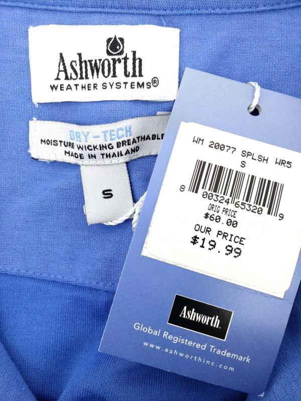 Ashworth Weather Systems Sport Golf Shirt Dry-Tech Blue New Men's Small NWT
