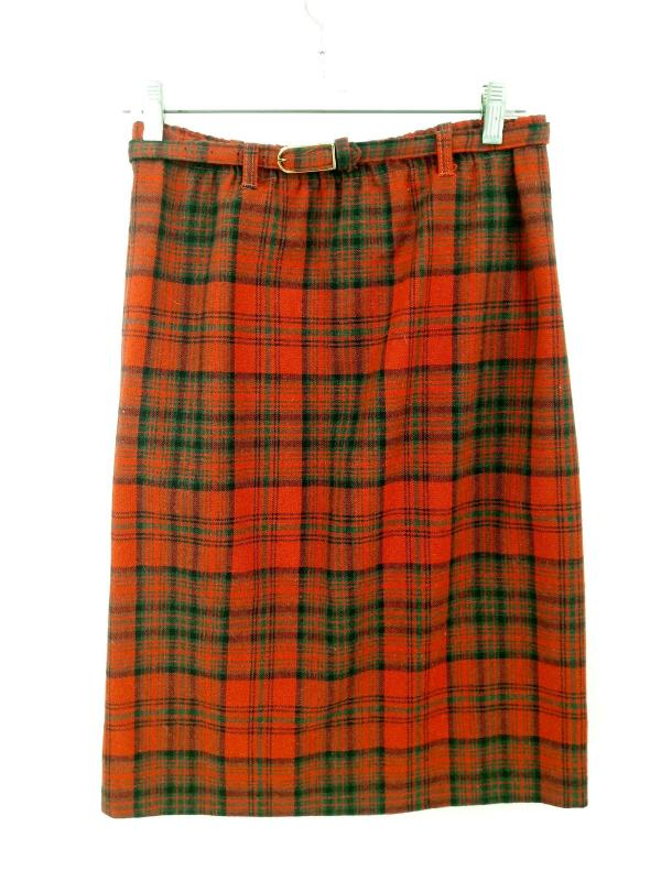 Vtg PRESTIGE of Boston Skirt Belted Wool Pencil Red Plaid Knee Length Sz 8