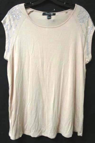 Top Forever 21 Rose/Silver Beaded Women's Size Large W/Tag