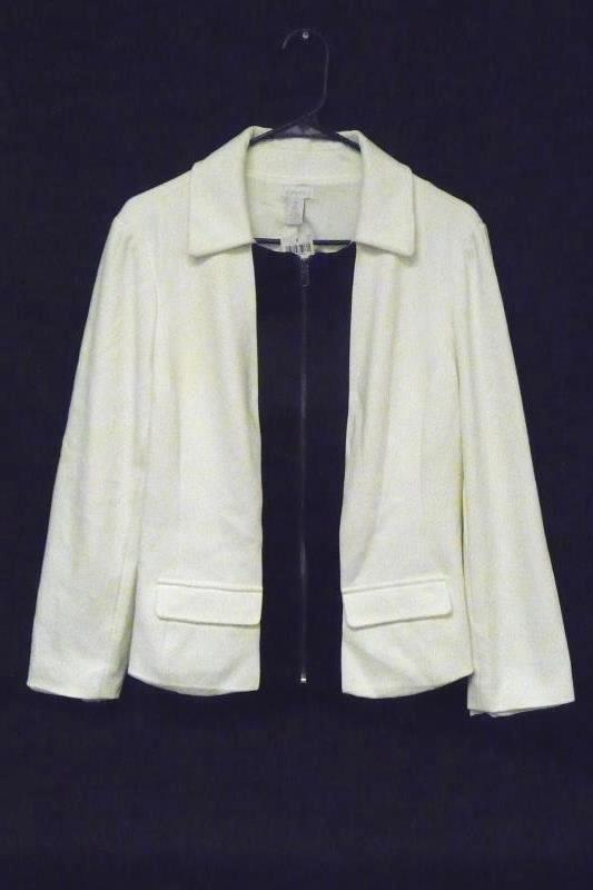 NWT Chico's Women's Off White Black Zipper Front Career Jacket Blazer Size 2