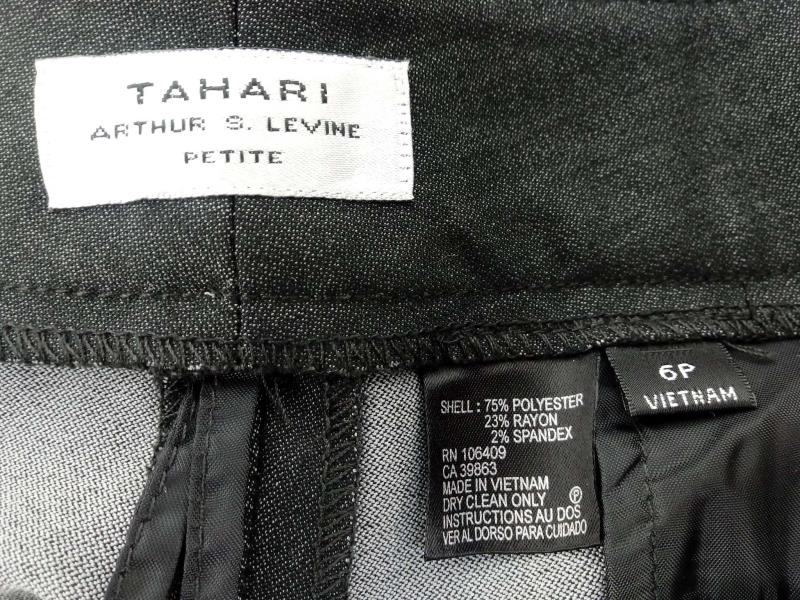 TAHARI Arthur Levine Dark Gray Trouser Dress Pant Career Women Size 6P