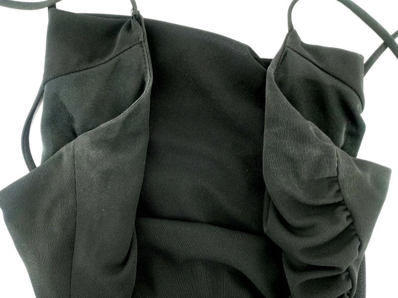 DAVID MEISTER Black Ruched Jersey Slip Dress LBD Cocktail Dress Women's Sz 4