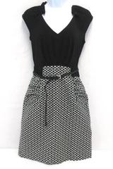 Bodycon Mini Dress MaxAndCleo Cap Sleeve Geometric Black White Women's 6 SMALL