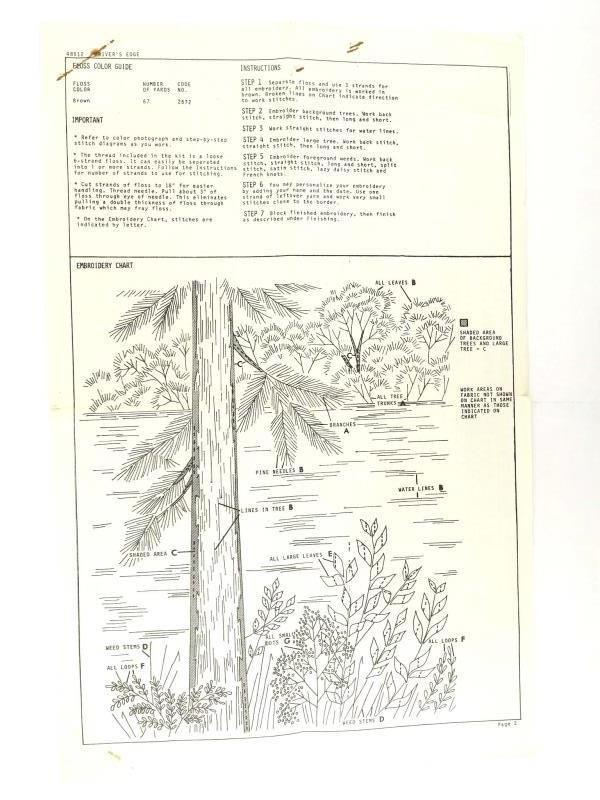 Vtg 70's Bucilla 48512 Needle Etching Embroidery Landscape Wall Panel COMPLETE