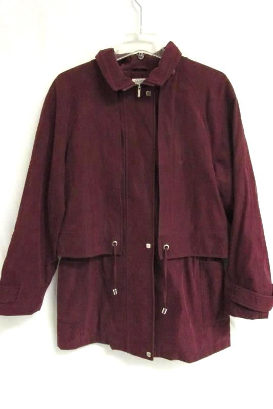 Maroon Collared Zip Up Jacket By Classic Elements Women's Size S/CH (6-8)