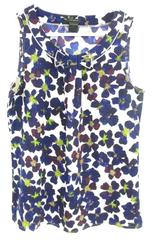 Ann Taylor Multi Color Floral Bow Tie Tank Top Women's Size Small