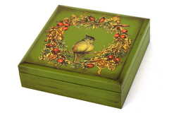 Unique Green Wooden Trinket Box With Decoupage Bird on a Wreath