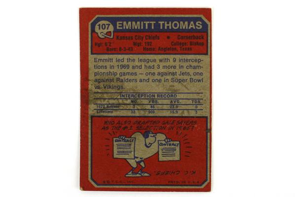 1973 Topps Emmitt Thomas CB Kansas City Chiefs #107 Football Card