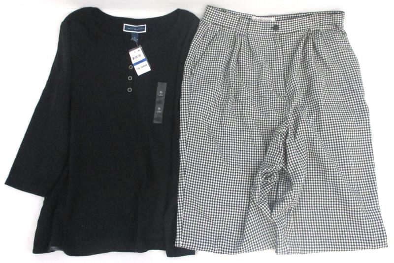 NWT Long Sleeve 1/4 Button Down Top XL and Gingham Pants 16 By Karen Scott