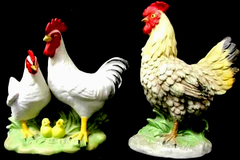 Lot of 2 Vintage Homco Chicken & Rooster Figurines 1446 and 1458