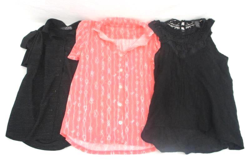 Lot of 3 Women's Sz Small Clothing Black Tank Top 2 Button Up Shirts Nautica