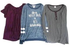 Lot of 3 Women's Size Medium Shirts Messy Hair Old Navy Empyre Striped Comfy