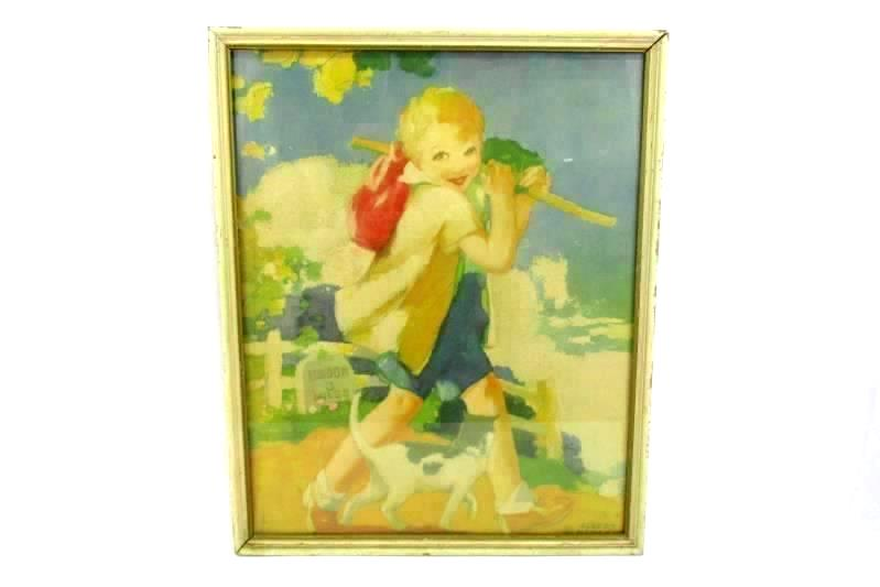 Framed 1920 Albert Hencke Fairy Tale Lithograph Dick Whittington And His Cat