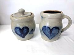 Rowe Pottery Creamer Pitcher and Sugar Bowl Set Salt Glaze Stoneware Heart 1987