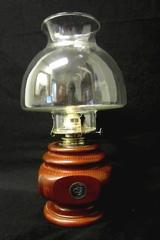 Vintage Lamplight Farms Wooden Base Hurricane Oil Lamp w/ Chimney