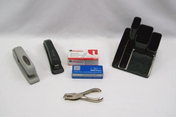 Lot of Office Supplies Pen Holder Staples Paper Clips 2 Staplers One Hole Punch