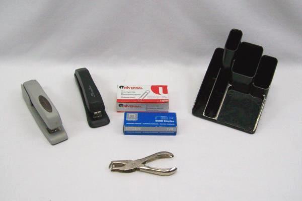 Lot Desk Supplies Pen Holder Staples Paper Clips 2 Swingline Staplers Hole Punch