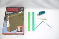 Office Supplies ~ Letter Opener 2 Rulers Stapler Triangle Ruler Hanging Folders