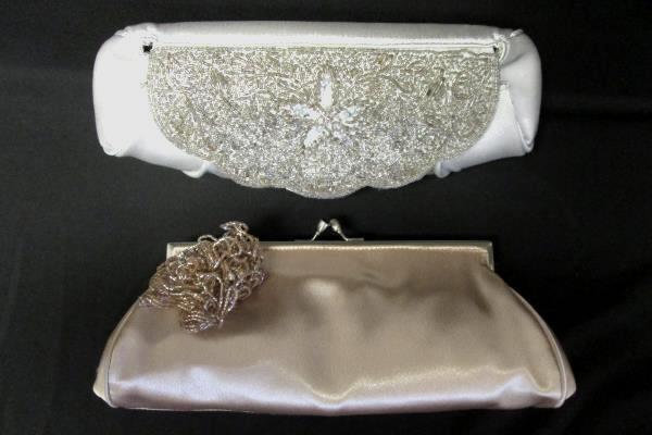 Lot Of Two Carlo Fellini Clutch Handbag Purse Bronze Pearl Sequins Small